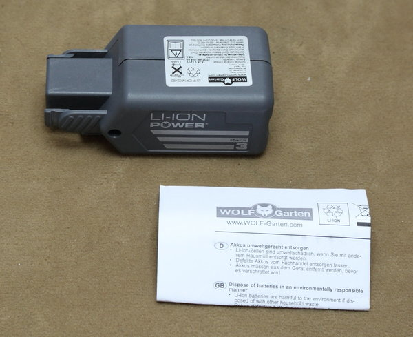 ORIGINAL Wolf Garten Li-Ion Power Pack 3 / 18V Akku 1,3 Ah